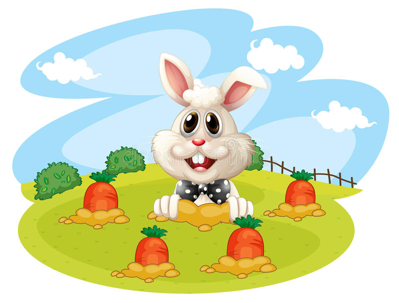 Een konijn bij het landbouwbedrijf met wortelen vector illustratie
