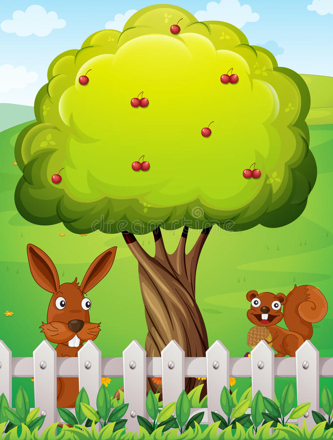Een konijn en een eekhoorn dichtbij de boom stock illustratie