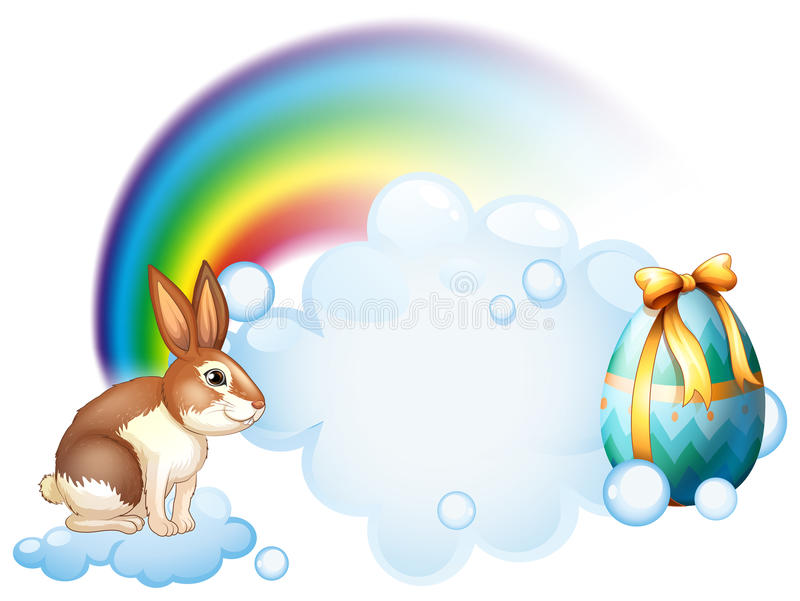 Een konijn en een ei dichtbij de regenboog royalty-vrije illustratie