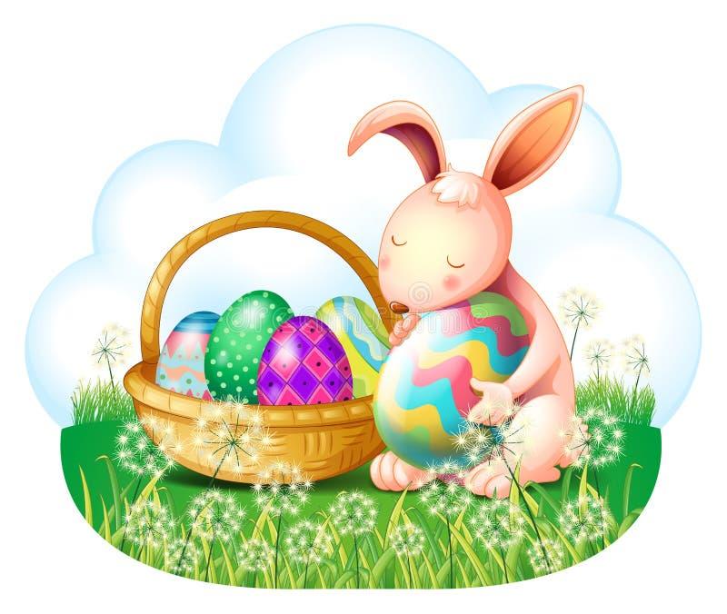 Een konijntje en een mandhoogtepunt van paaseieren stock illustratie