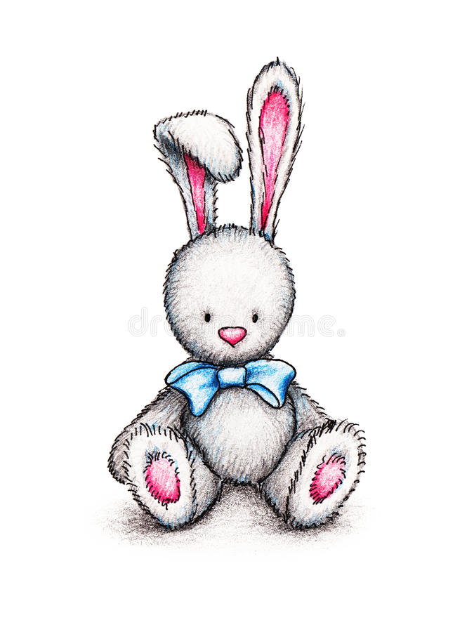 Een konijntje met blauw lint royalty-vrije illustratie