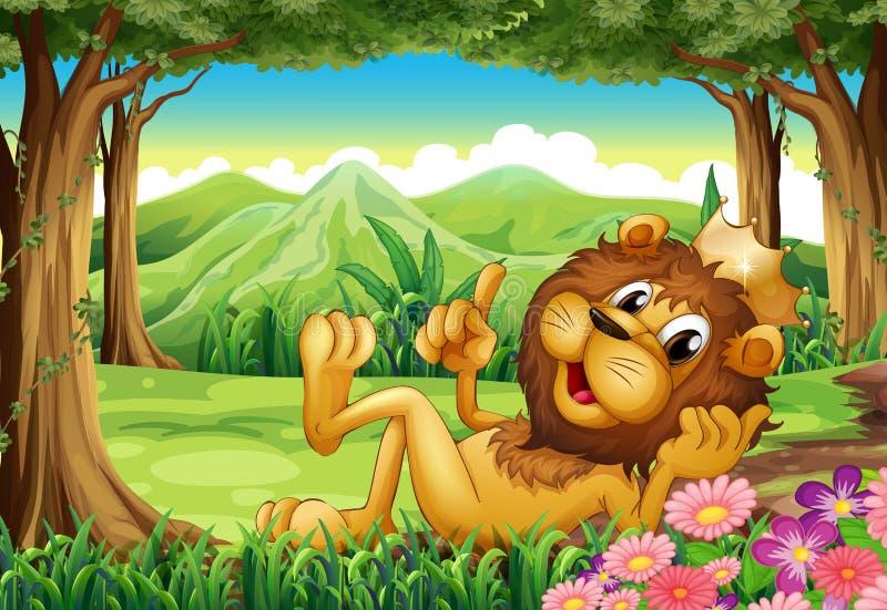 Een koningsleeuw bij het bos royalty-vrije illustratie