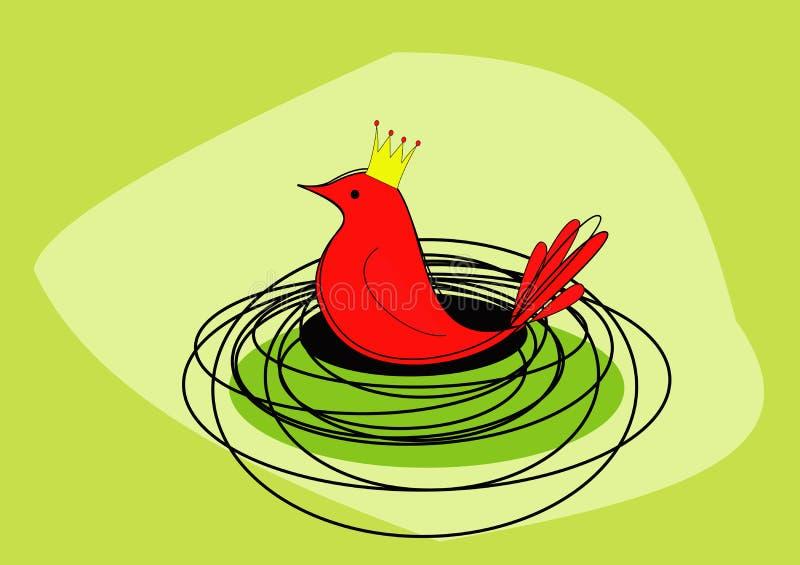 Een koninklijke rode vogel zit op het is nest - rooster royalty-vrije stock afbeelding