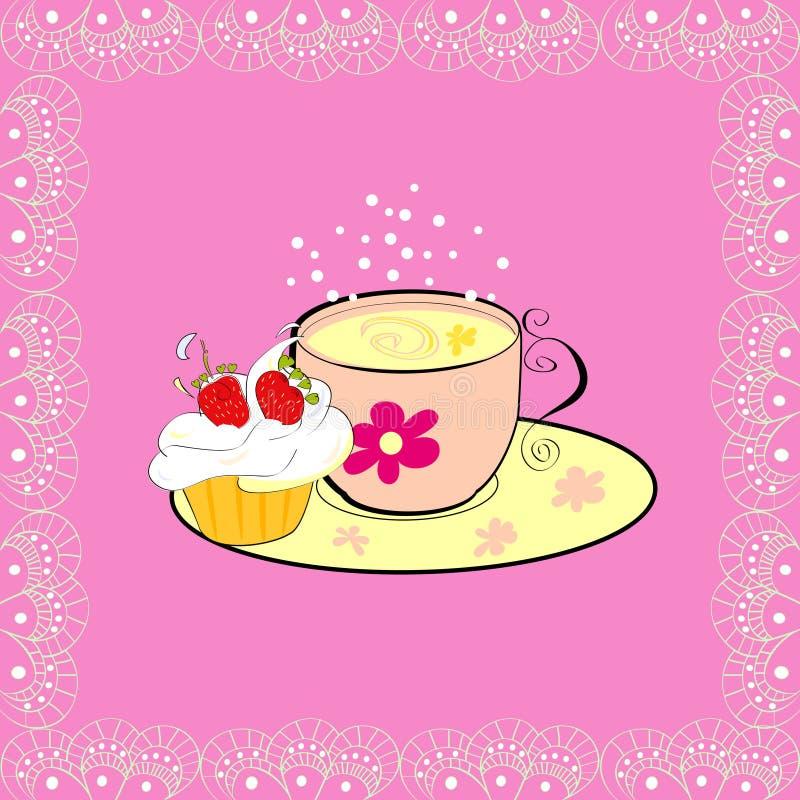 Een kop thee met cupcake royalty-vrije illustratie