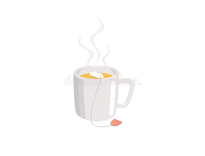Een kop thee met theezakje op witte achtergrond wordt ge?soleerd die stock illustratie