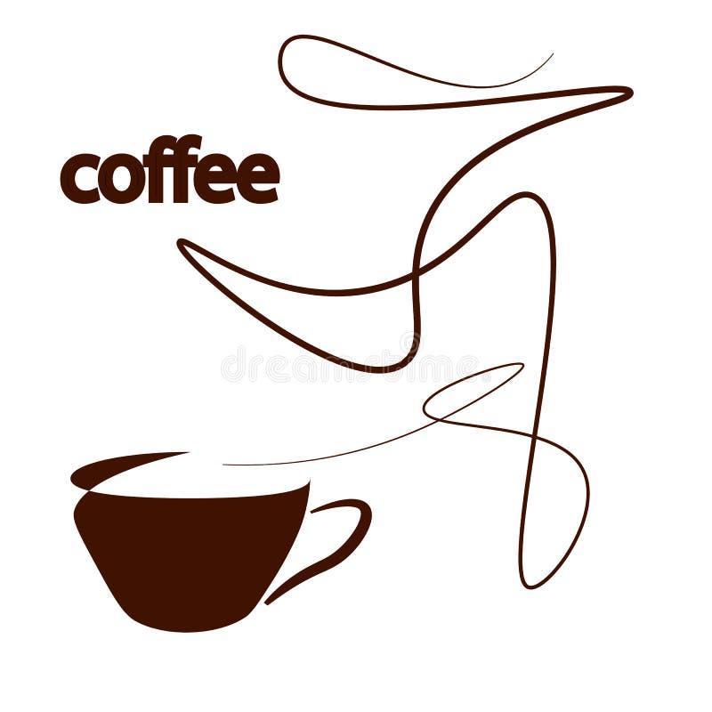 Een kop van coffeecup van koffie op een witte achtergrond met elegante lijnen van stoom royalty-vrije stock foto