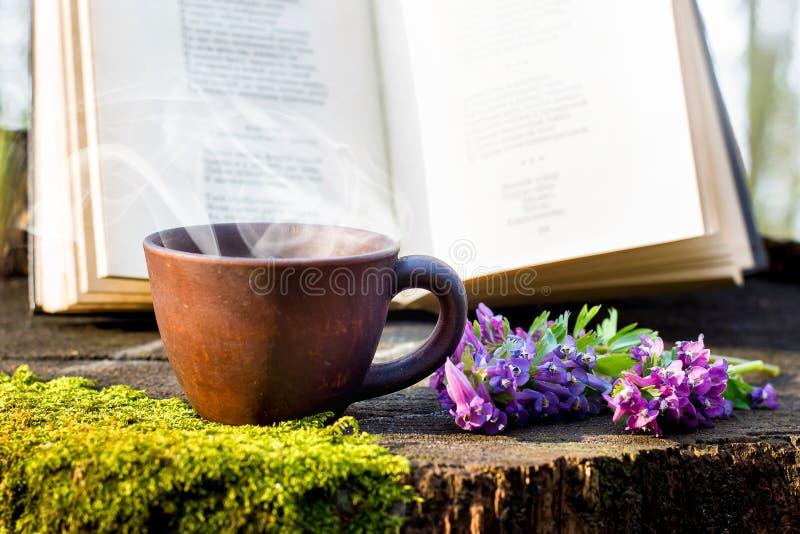 Een kop van hete koffie in het hout vóór een open boek Het lezen van een boek in aard Rust in forest_ stock afbeelding