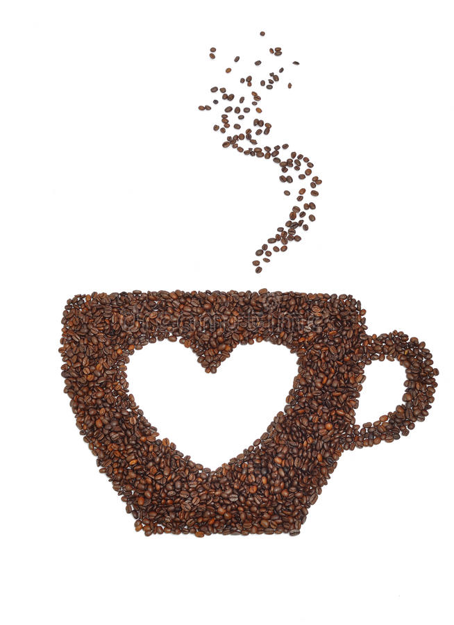 Een kop van koffie met een hartsymbool royalty-vrije stock afbeelding