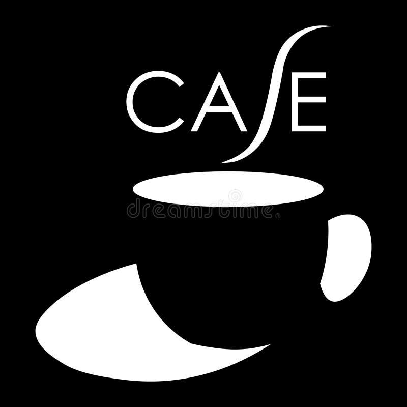Een kop van koffie met een inschrijvingskoffie die negatief ruimtekoffie minimalistisch embleem gebruiken vector illustratie