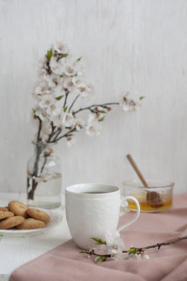 Een kop van zwarte thee op een servet, de eigengemaakte koekjes, een kom honing en een glasvaas van abrikoos bloeien op de witte  royalty-vrije stock afbeelding