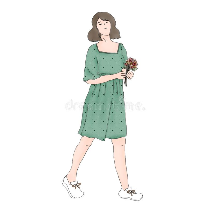 Een kort haar Aziatisch meisje stock illustratie