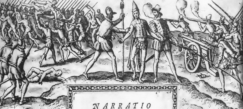 Een Korte Rekening van de Vernietiging van Brits-Indië en Historia DE Las Indias door Bartolome DE las Casas stock afbeelding