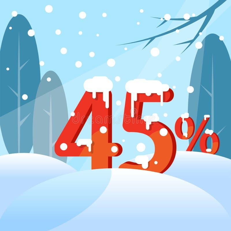 Een korting Vijfenveertig percenten Cijfers in de sneeuw vector illustratie
