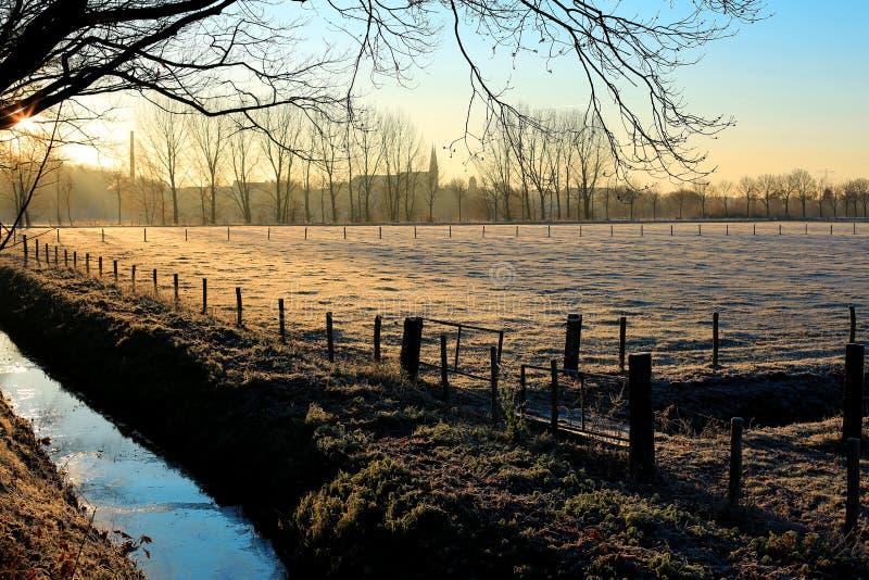 Een koude de winterochtend in Limburg, Nederland stock afbeeldingen