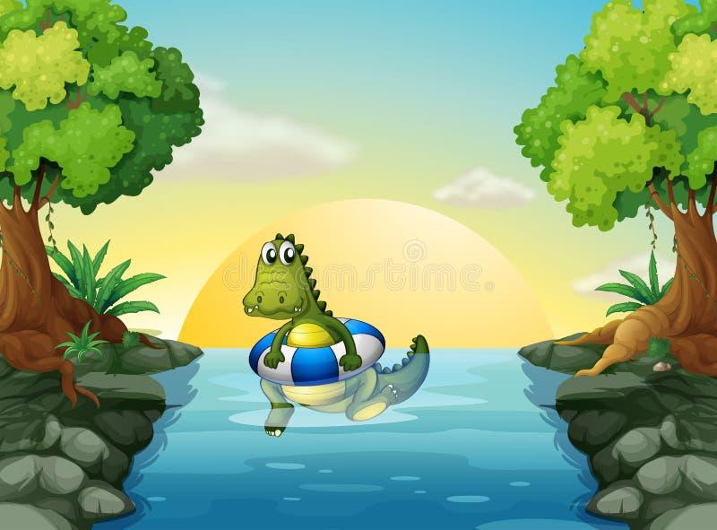 Een krokodil bij de rivier stock illustratie
