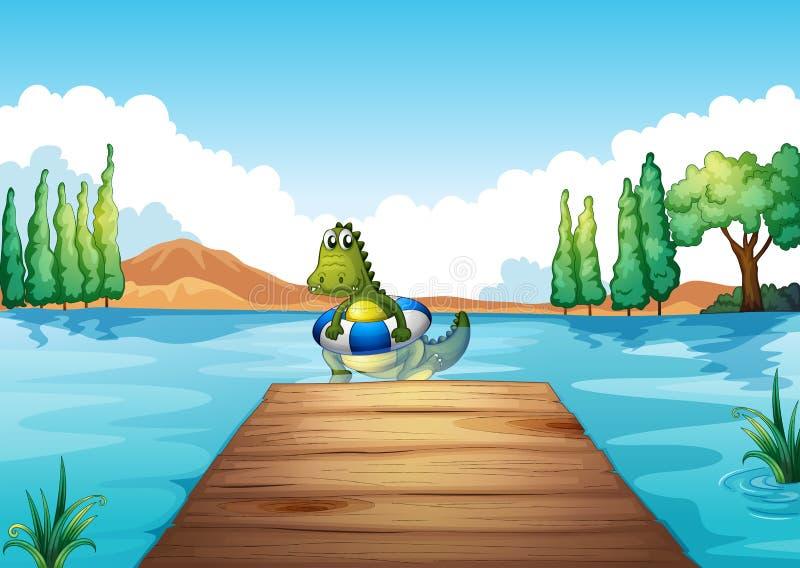 Een krokodil binnen boei het zwemmen royalty-vrije illustratie