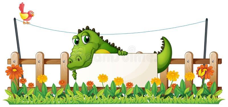 Een krokodil in de omheining vector illustratie