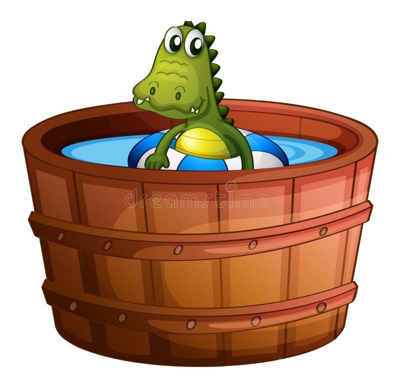 Een krokodil die bij de badkuip zwemmen royalty-vrije illustratie