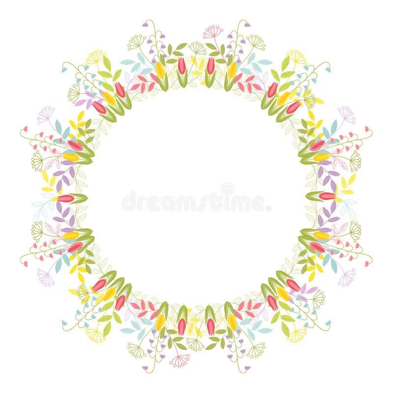 Een kroon van bladeren, bloemen en takjes Het feestelijke element van het kleuren vectorillustratie geïsoleerde ontwerp op witte stock illustratie