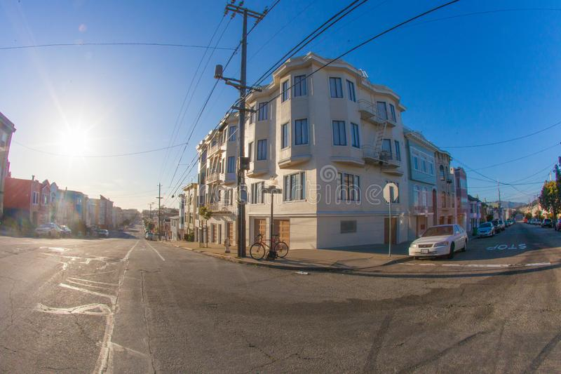 Een kruising in buitenrichmond in San Francisco met in t royalty-vrije stock foto's