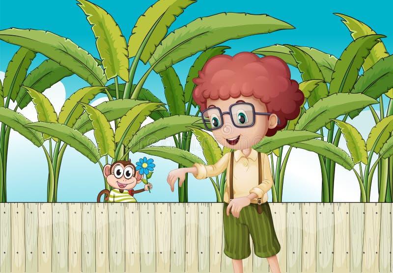 Een krullende jongen dichtbij de omheining met een aap vector illustratie