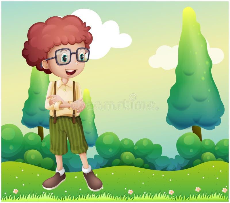 Een krullende jongen die zich bij de heuveltop bevinden royalty-vrije illustratie