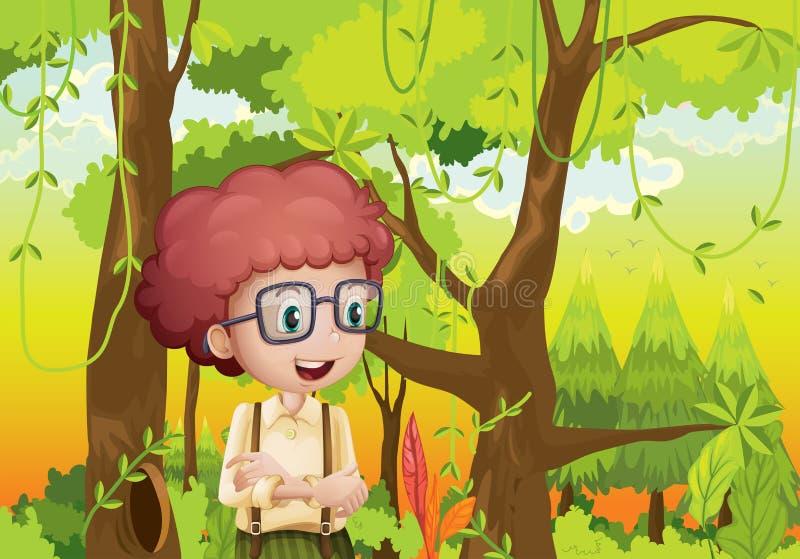 Een krullende jongen in het bos dichtbij de bomen royalty-vrije illustratie