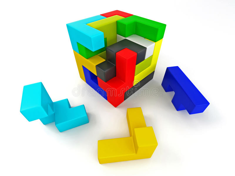 Een kubus die van blokken wordt gebouwd. Raadsel stock illustratie