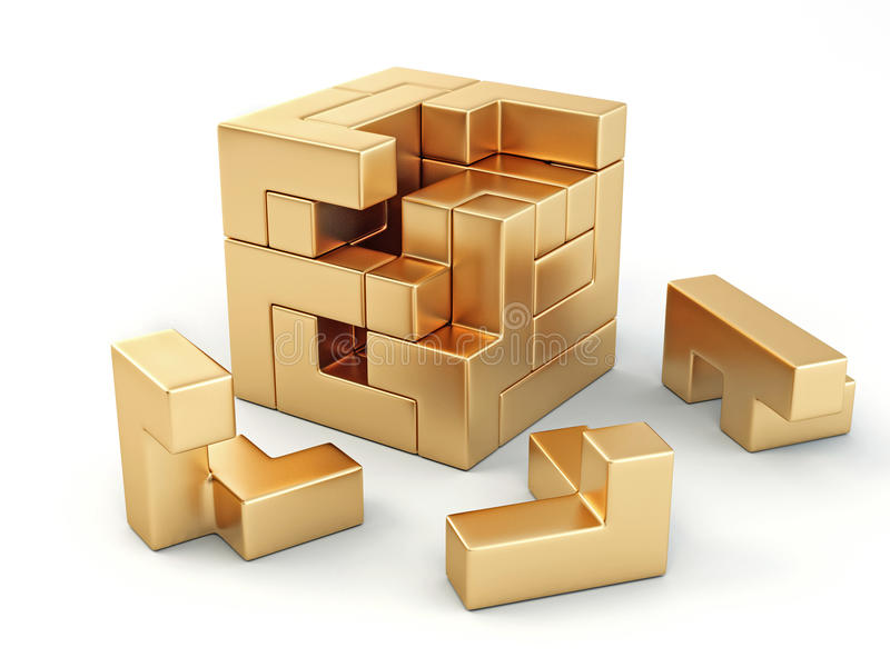 Een kubus die van blokken wordt gebouwd. Raadsel vector illustratie