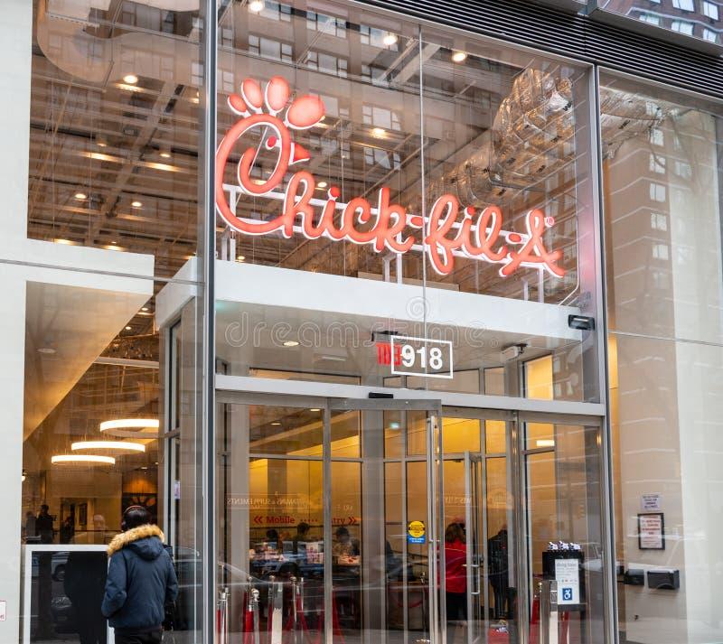 Een kuiken-fil-winkelfront New York stock afbeelding