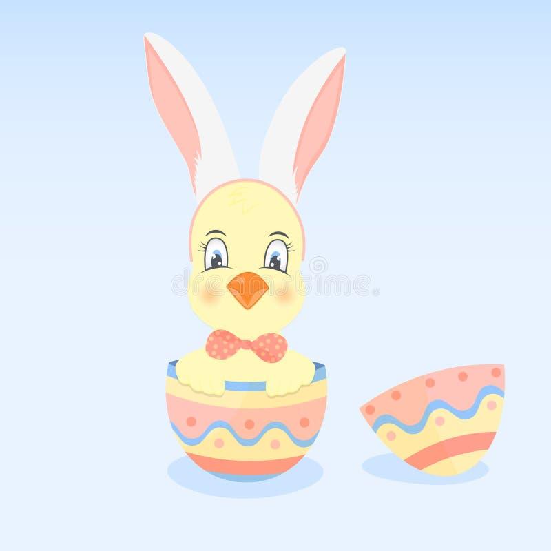 Een kuiken met oren zoals een konijn in het paasei vector illustratie