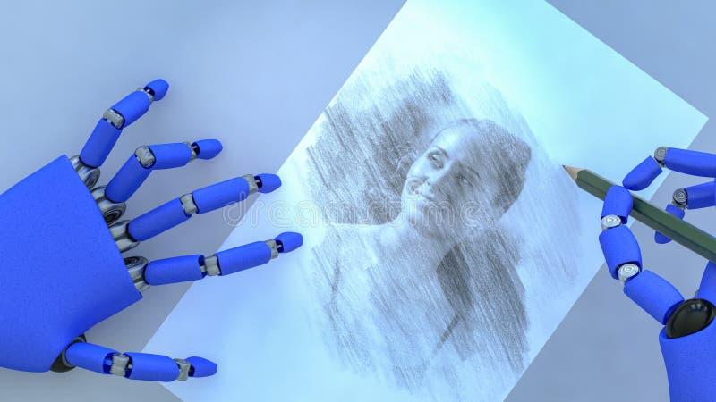 Een kunstmatige intelligentie schildert een kunstwerk stock illustratie