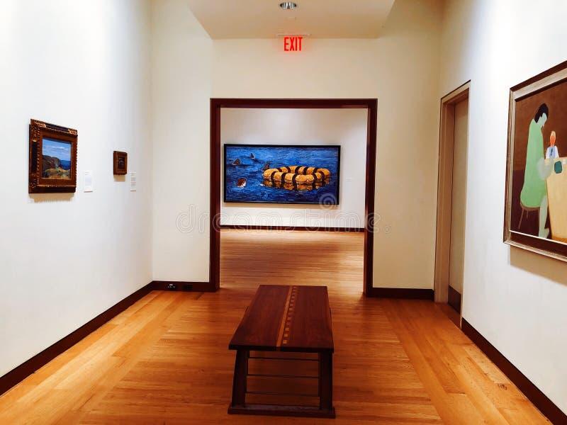 Een kunsttentoonstelling binnen het Nieuwe Museum van Groot-Brittanni? van Amerikaans Art. royalty-vrije stock foto