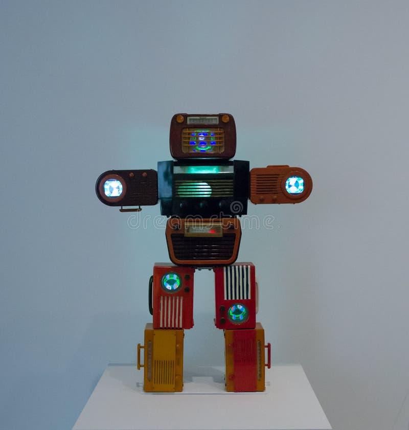 Een kunstwerk door Nam June Paik in beroemde Tate Modern in Londen royalty-vrije stock fotografie