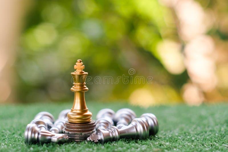 Een laatste tribune van de schaakkoning als ware winnaar Het concept van het geldspel stock afbeeldingen