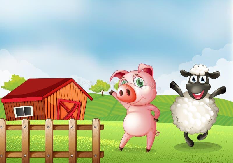 Een landbouwbedrijf met een varken en een schaap stock illustratie