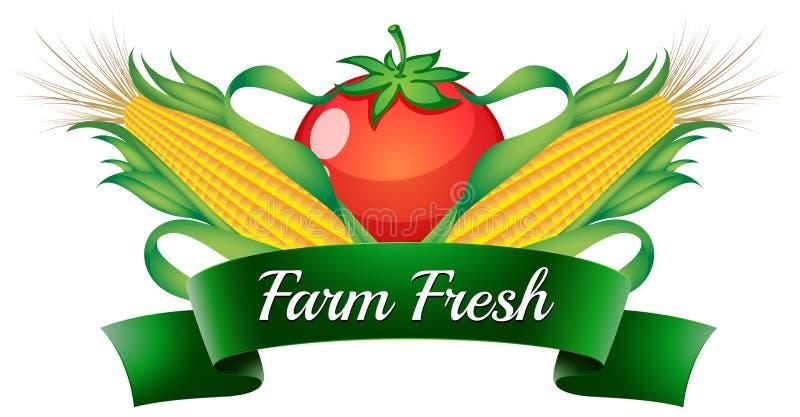 Een landbouwbedrijf vers etiket met sweetcorns en een tomaat vector illustratie