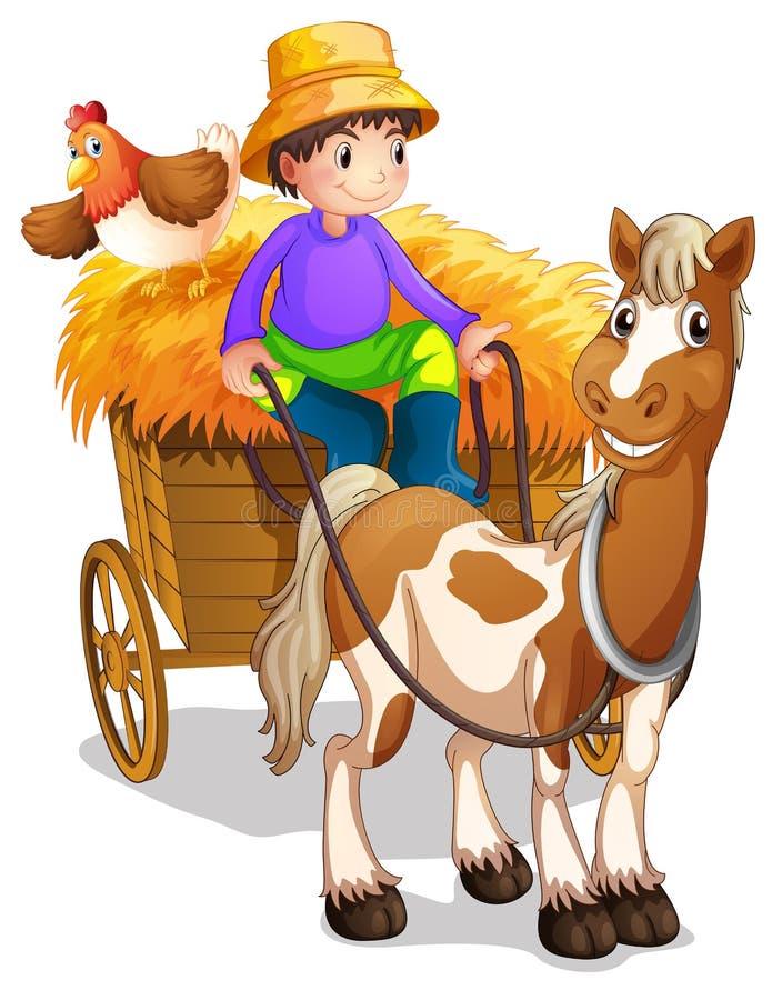 Een landbouwer die in zijn houten kar met een paard en een kip berijden vector illustratie