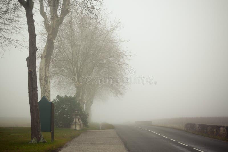 Een landweg op een mistige dag in Frankrijk stock afbeeldingen