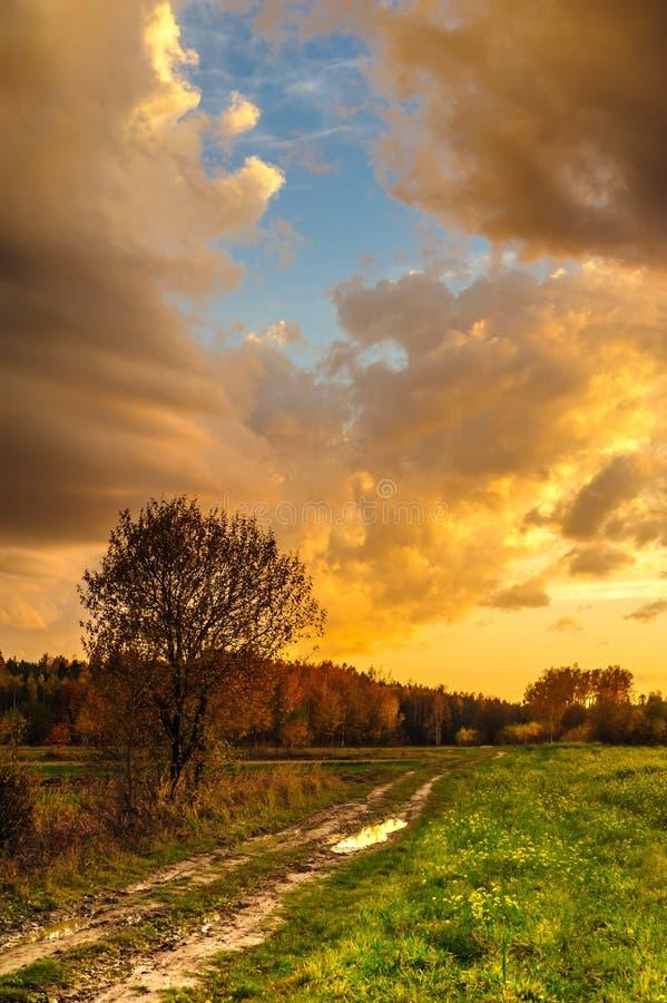 Een landweg tijdens een fenomenale zonsondergang stock afbeeldingen