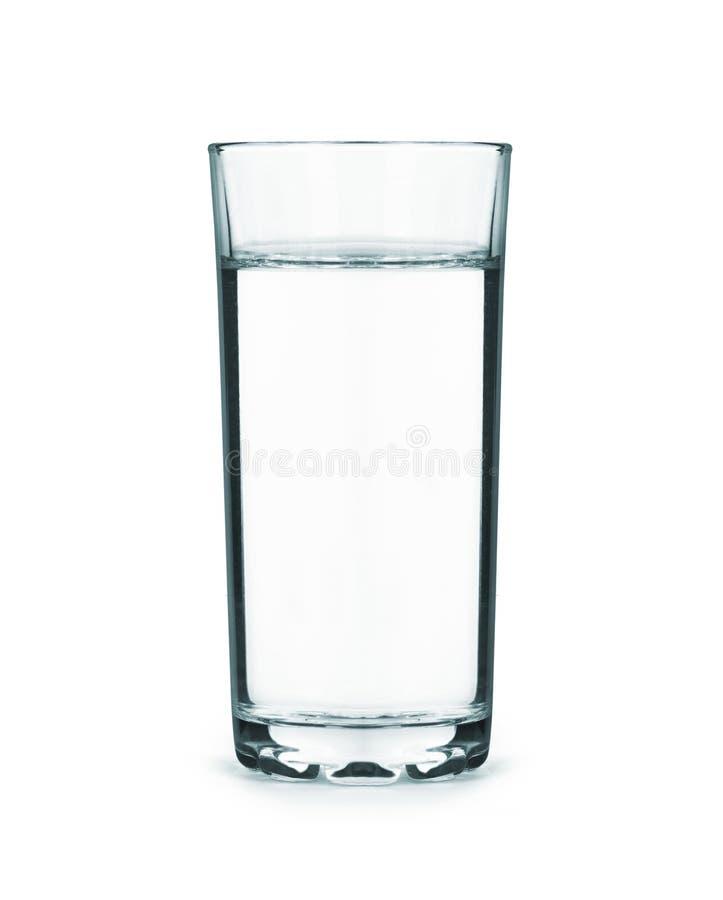 Een lang glashoogtepunt van water dat op wit wordt geïsoleerd royalty-vrije stock foto's