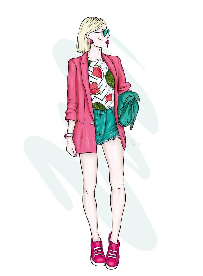 Een lang slank meisje in korte borrels, een jasje en high-heeled schoenen Mooi model in modieuze kleren Vector illustratie stock illustratie