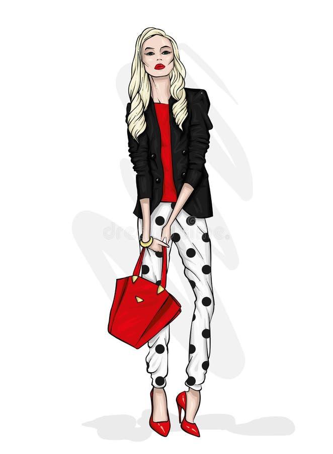 Een lang slank meisje met lang haar in een modieus jasje, broeken en high-heeled schoenen Manier & Stijl stock illustratie