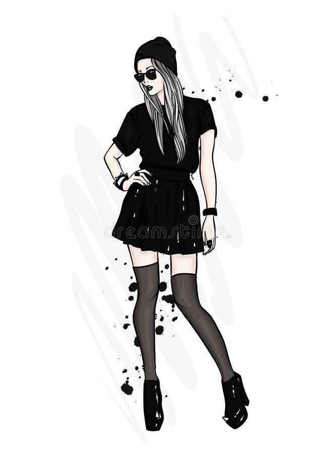 Een lang, slank meisje in modieuze kleren Een meisje in een rok, een hoed, glazen, kousen en laarzen met hoge hielen Manier & Sti royalty-vrije illustratie