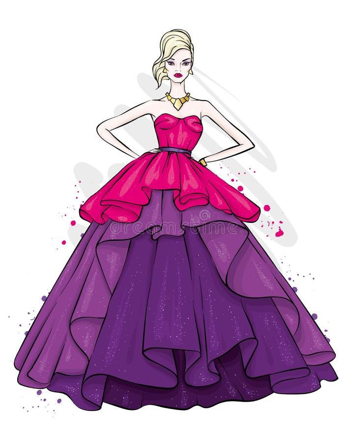 Een lang, slank meisje in een mooie avondjurk Manier & Stijl Vector illustratie royalty-vrije illustratie