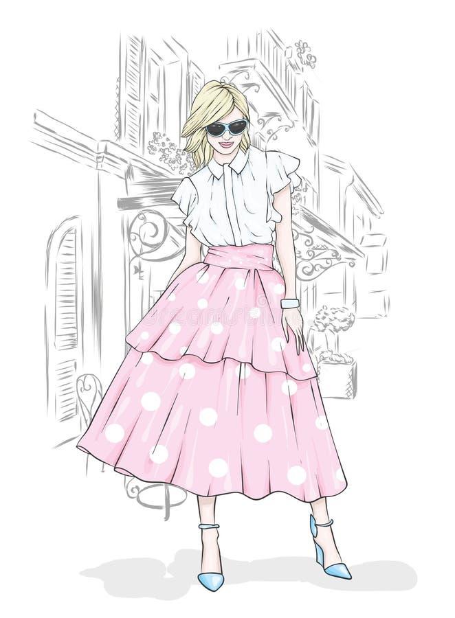 Een lang, slank meisje in een rok van Midi, een blouse, high-heeled schoenen en een koppeling Vector illustratie Kleding en toebe vector illustratie
