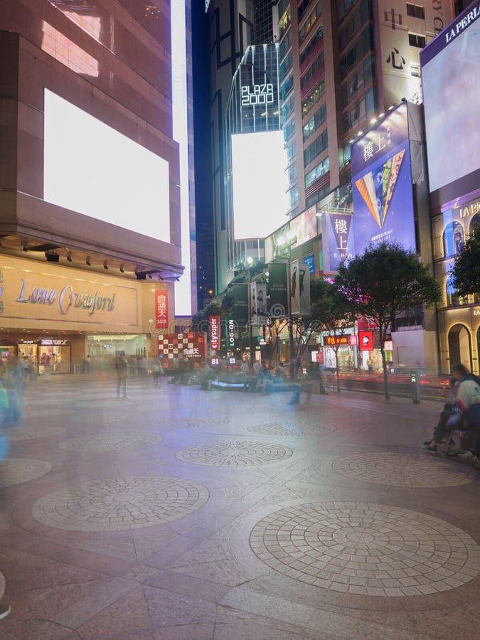 Een lange blootstelling schoot genomen dichtbij The Times Vierkant winkelcentrum dichtbij Russel-straat Hong royalty-vrije stock afbeelding