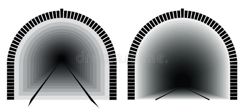 Een lange en diepe spoorwegtunnel Manier direct De onzekerheid ligt in het verschiet royalty-vrije illustratie