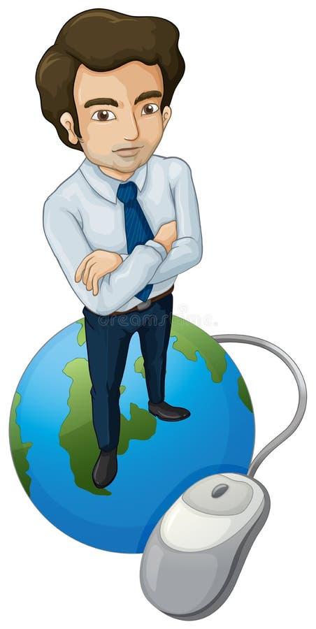 Een lange mens boven de bol met een computermuis stock illustratie