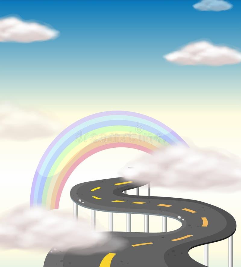 Een lange windende weg die naar de regenboog gaan royalty-vrije illustratie